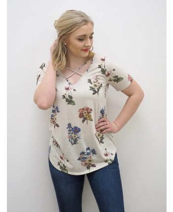 Floral Printed Crisscross Top