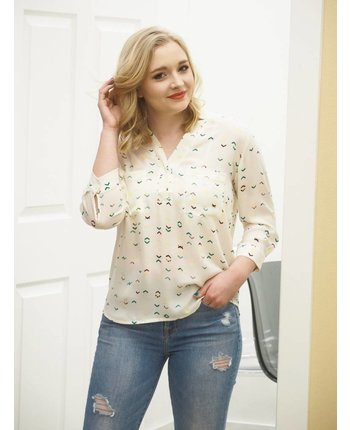 Patterned 3/4  Sleeve Blouse