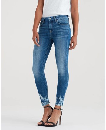 7 For All Mankind The Ankle Skinny w/ Bleach Hem