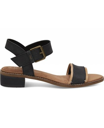 TOMS Black Leather Camilia Sandal