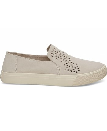 TOMS Birch Perforated Suede Sunset Slip Ons