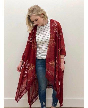 Folk Border Printed Kimono