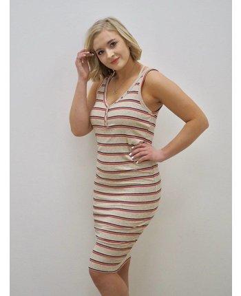 Rib Knit Striped Dress