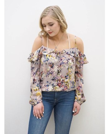 Printed Ruffle Cold Shoulder