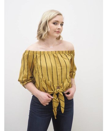 Vertical Stripe Off Shoulder Top