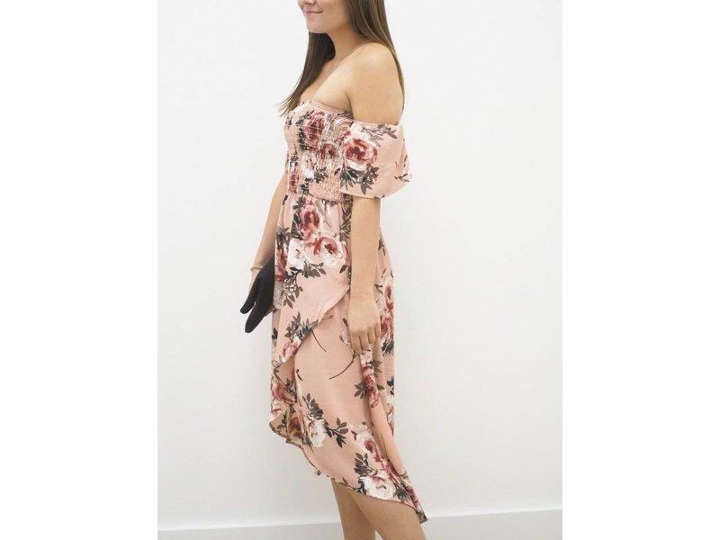 Off Shoulder Floral Woven Dress