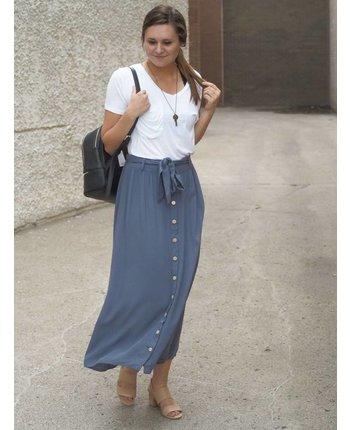 High Rise Button Down Skirt