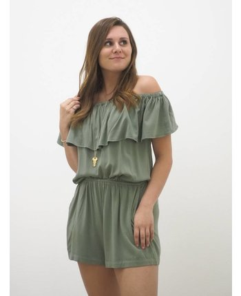 Off Shoulder Woven Romper
