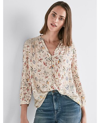 Lucky Brand Printed Peasant Top