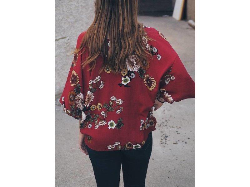 Wide Sleeve 3/4 Floral Top