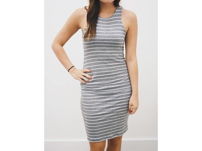 Sleeveless Round Neck Stripe Dress