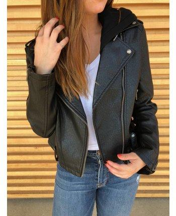 Blank NYC Neo Hooded Leather Jacket