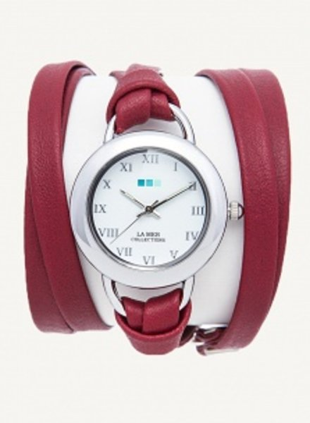 LA MER COLLECTIONS BURGUNDY-SILVER SATURN WRAP WATCH
