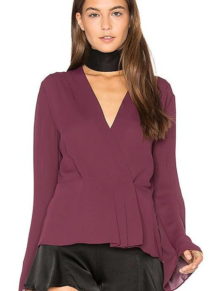 ELIZABETH & JAMES Layla Long Sleeve Pleated Wrap Blouse