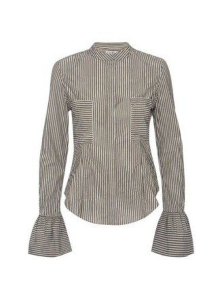 FRAME STRIPED FITTED POPLIN BLOUSE