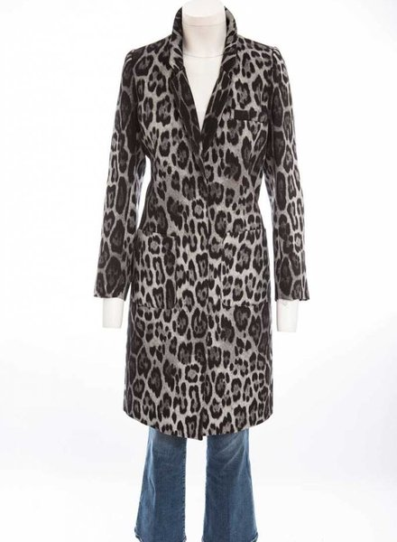 SMYTHE PATCH POCKET LEOPARD LAB COAT
