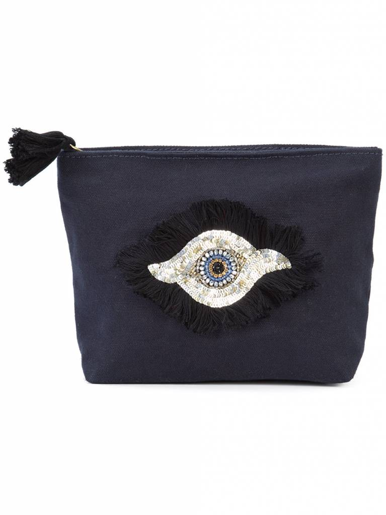 FIGUE Evil Eye Cosmetic Pouch Navy