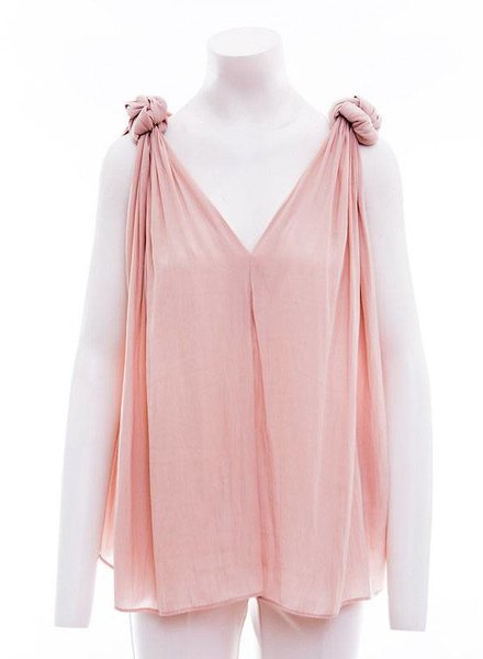 SMYTHE Knot Blouse available in Blush and Carbon