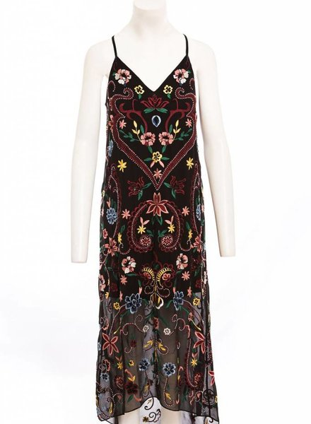 ALICE & OLIVIA JAMESON EMBROIDERED Y BACK DRESS