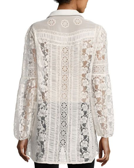 ALICE & OLIVIA JILL EMBROIDERED PEASANT TOP