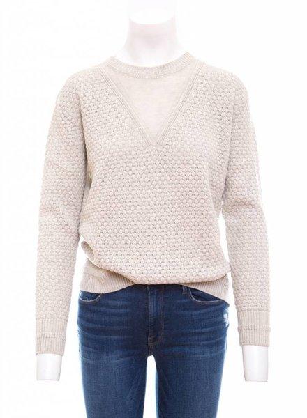Autumn Cashmere Textured Boyfriend Sheer V Sweater