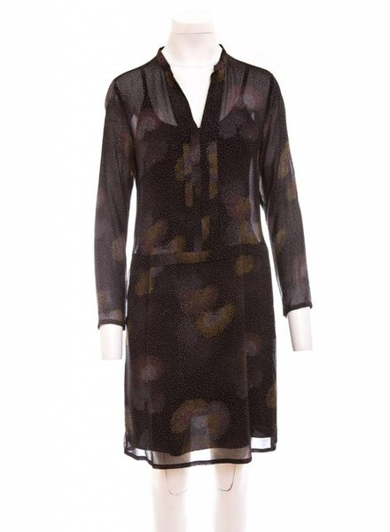 HARTFORD Sheer V-Neck Long Sleeve Dress