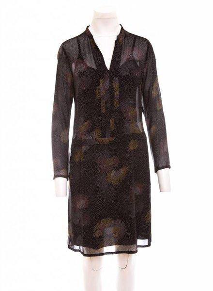 HARTFORD Sheer V-Neck Long Sleeve Dress