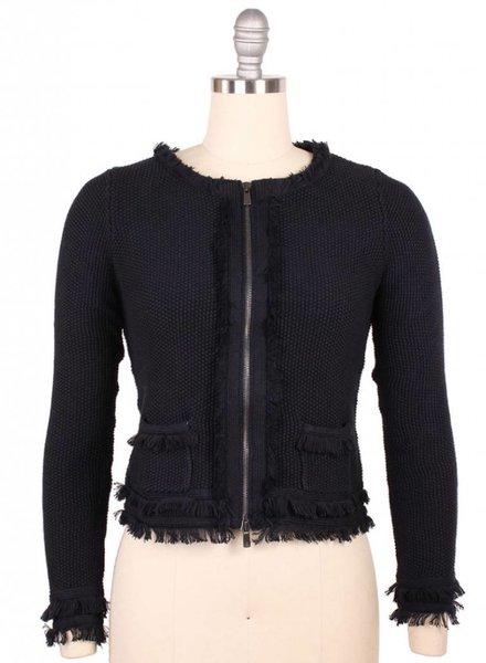 Autumn Cashmere Fringe Zip Jacket