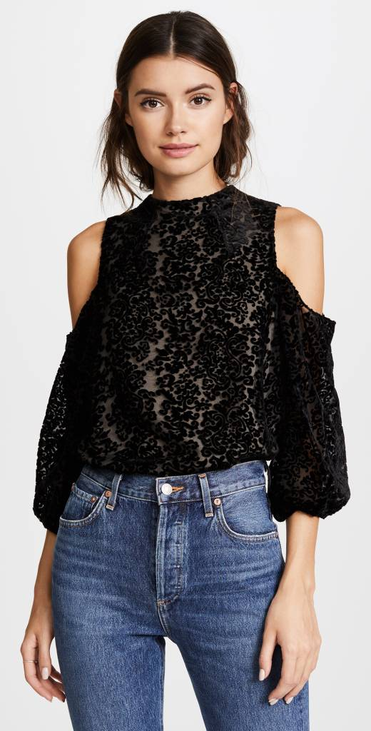 ALICE & OLIVIA Hallie Cold Shoulder Top