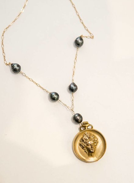 JUST JULES LADY LOCKET TAHITIAN PEARLS