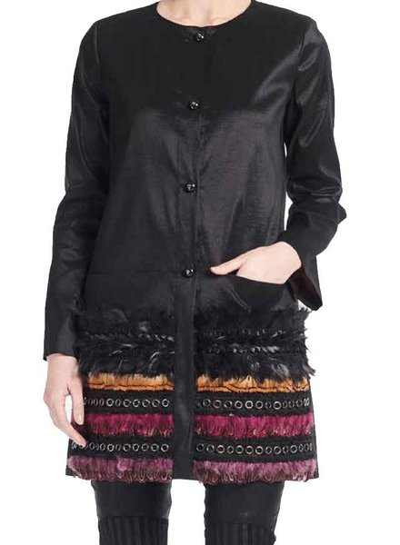 Save The Queen Feather Pocket Coat