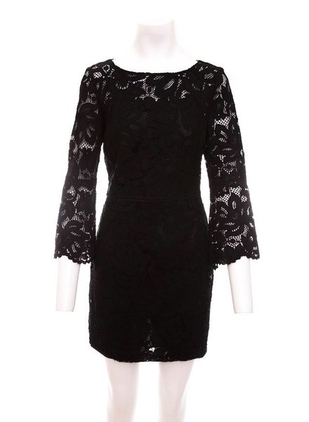Tara Jarmon Lace Dress with Peplum Sleeve