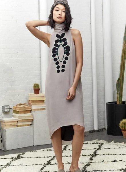 Laura Siegel Digital Print Dot Turtleneck Swing Dress