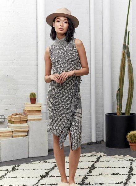 Laura Siegel EMBOSSED INTARSIA DRESS