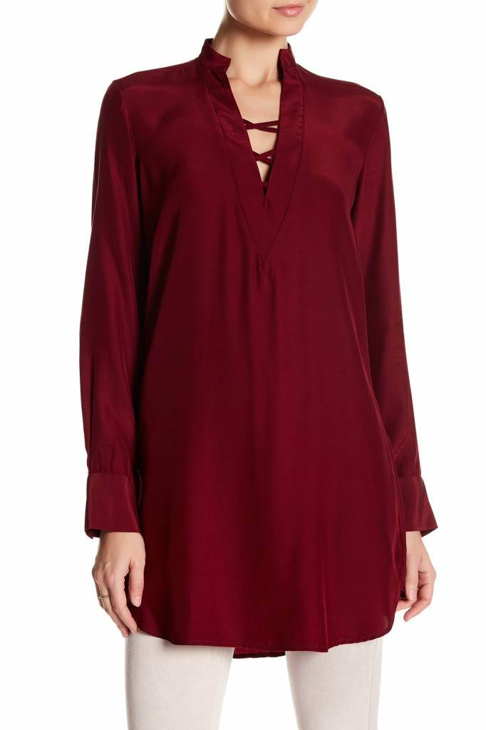 DAVID LERNER Lattice Shirt Dress
