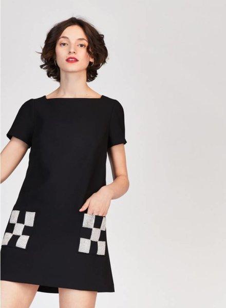 Tara Jarmon Mod Woven Dress with Pockets