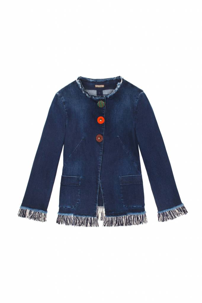 MALIPARMI DENIM JACKET WITH FRINGE & BEAD BUTTONS