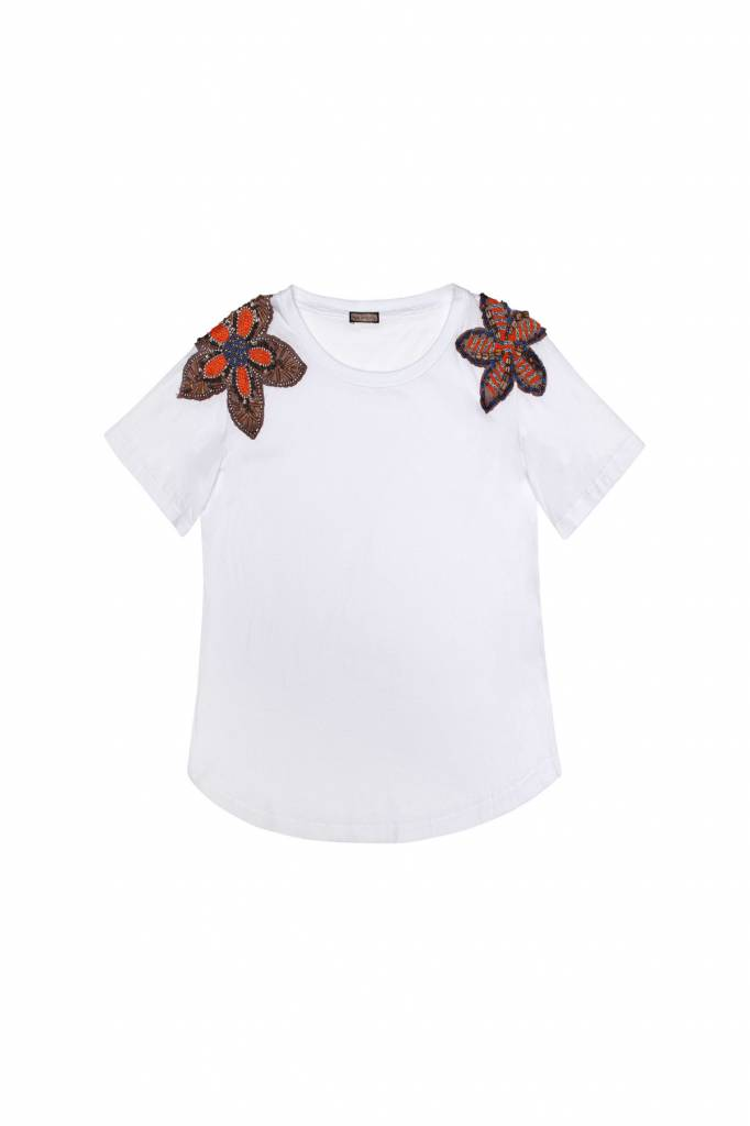 MALIPARMI WHITE TEE WITH BEADED FLOWERS