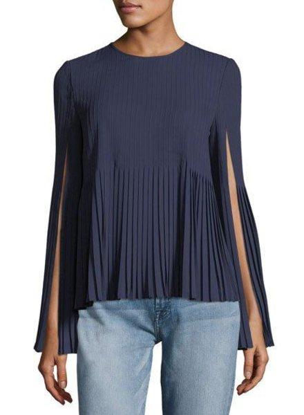 ELIZABETH & JAMES SEENA PLEATED TOP WITH SLV SLITS