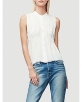 FRAME RAW SMOCKED SLEEVELESS TOP