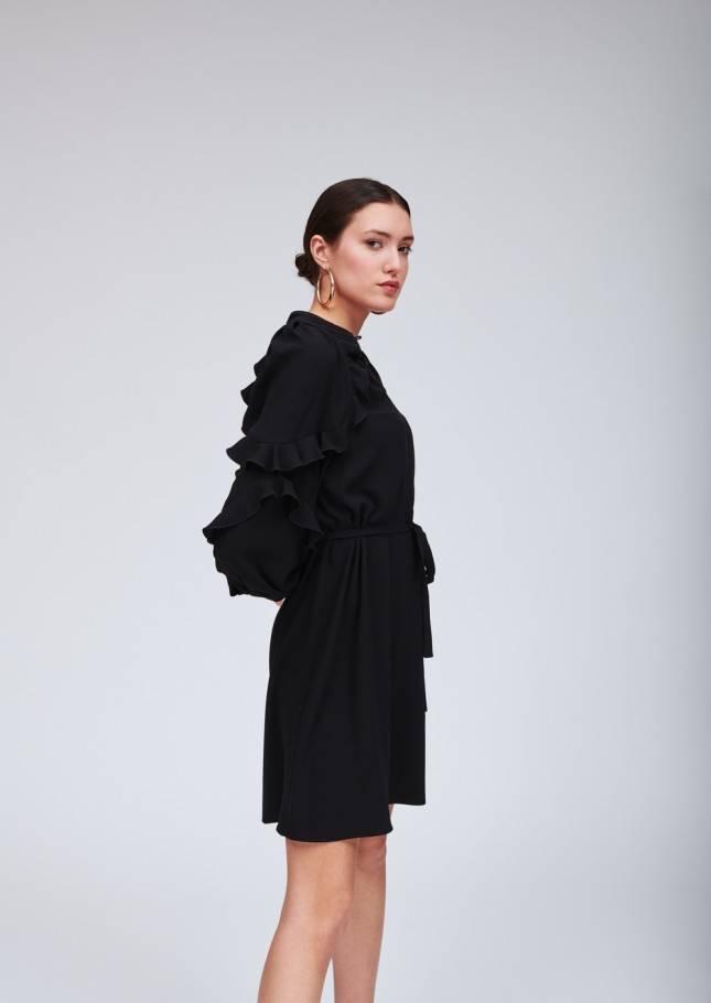 Tara Jarmon TIE NECK RUFFLE DRESS