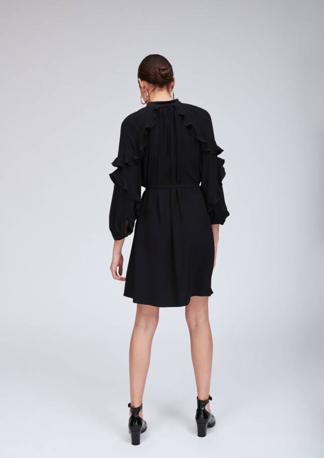 Tara Jarmon TIE NECK RUFFLE DRESS