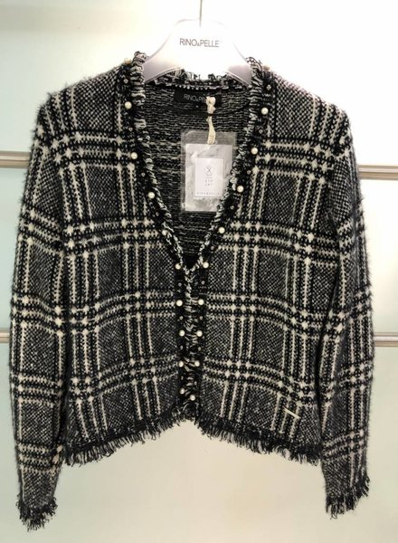 RINO & PELLE PLAID PEARL TRIM FRINGE JACKET