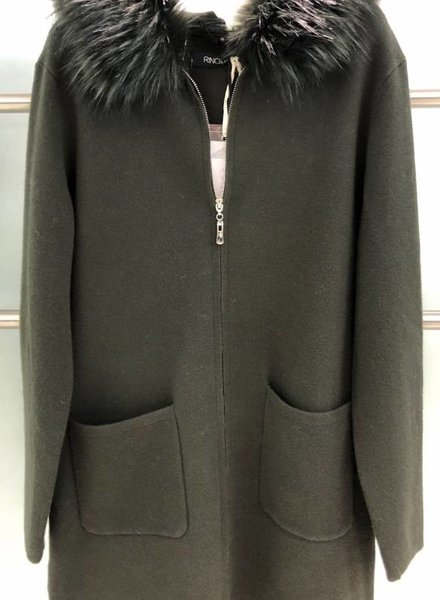 RINO & PELLE FUR COLLAR ZIP CARDIGAN