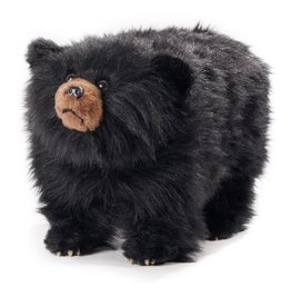 Carstens Shadow Shaggy Black Bear Foot Stool