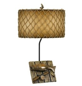 CAL LIGHTING Fishing Trophy Resin Table Lamp with Roped Hand Painted Shade