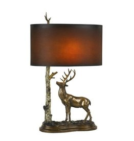 CAL LIGHTING Deer Resin Table Lamp with Hand Painted Leatherette Shade