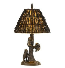 CAL LIGHTING Bear Cubs Resin Table Lamp with Twig Shade