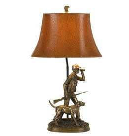 CAL LIGHTING Hunter Resin Table Lamp with Hand Painted Shade