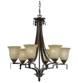 CAL LIGHTING Dabois Hand Forged Iron 6 Light Chandelier with Glass Shades